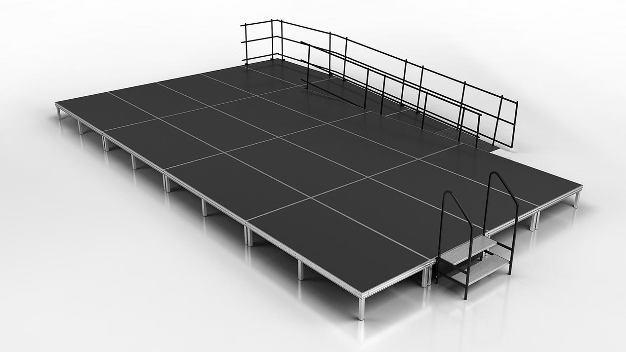 executive stage with stairs and wheelchair ramp