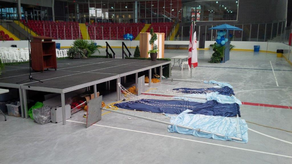 Stage in sport rink