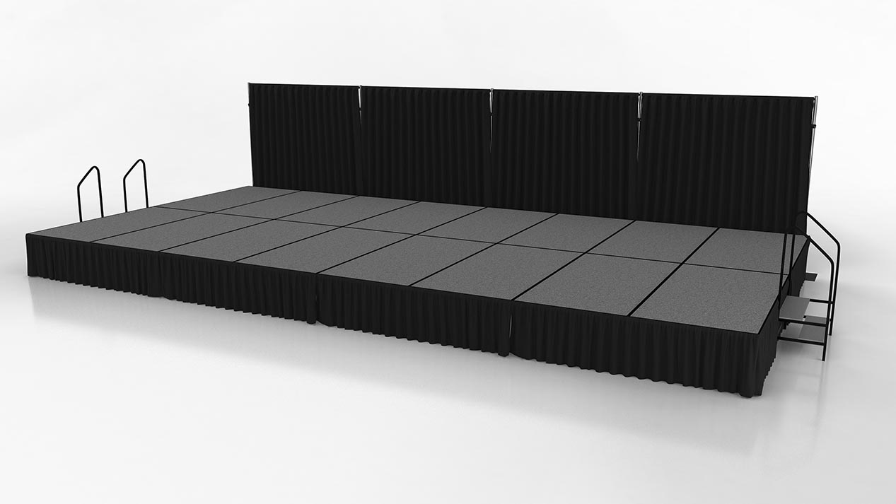Ready stage with skirting, stairs and backdrop