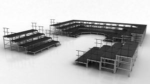 Theatre seating risers in the round formation