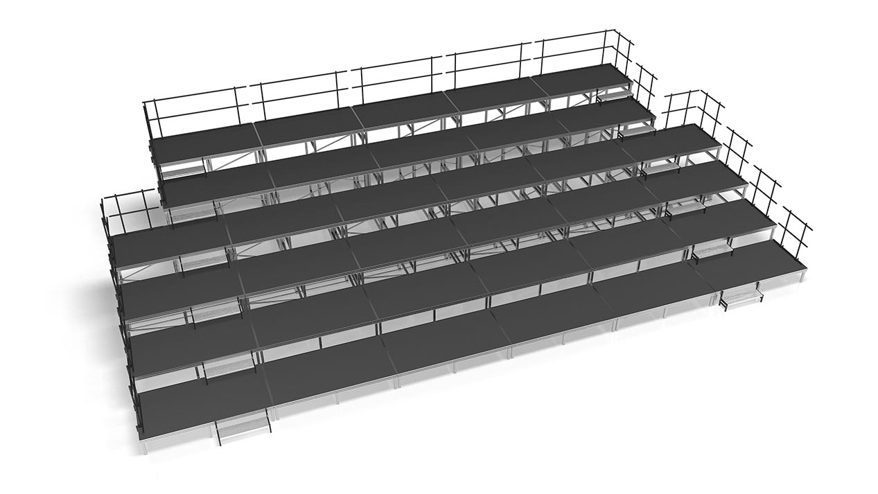 Audience seating risers with steps and risers